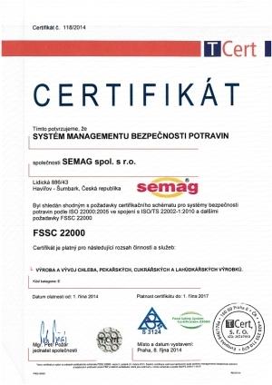 CERTIFIKÁT FSSC 22000