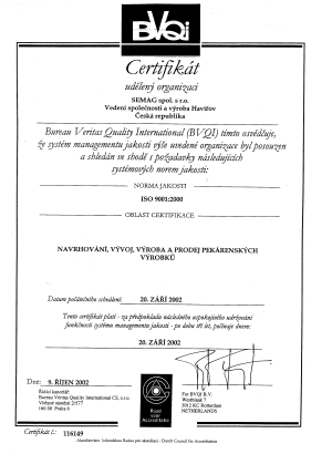 CERTIFIKACE DLE NORMY ISO 9001
